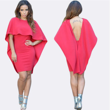 Pink Backless Flounced Cape Dress