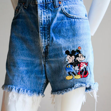 Disney Denim Shorts | Mickey Mouse Shorts | Disney high waisted Shorts | Cutoff Shorts | Mickey Denim Shorts | Frayed Edge Shorts| | Sz 34