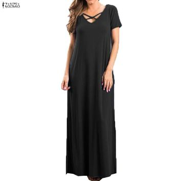 Front Crossed V Neck Short Sleeve Split Maxi Long Dress