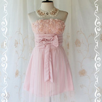 Princess Of The Night Cocktail Dress - Pink Nude Toned Wedding Prom Party Cocktail Night Dress Romance Tutu Skirt Floral Fabrics