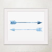 Blue arrows art print, Blue home decor, Tribal arrow Wall art Digital print, Blue prints, Feather arrow Wall print, Printable wall art print