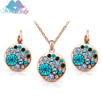 Miss Lady 2017 summer jewelry  Rose Gold Plated Simulated Diamond Pink Big Round african costume Crystal Jewelry Sets for women