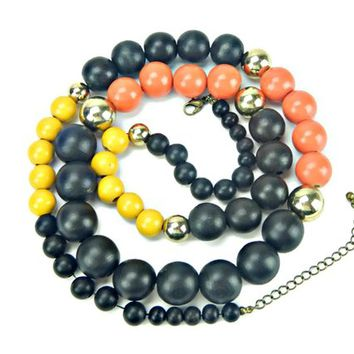 Long Chunky Wood Bead Necklace Orange Black and Yellow with Gold Tone Metal