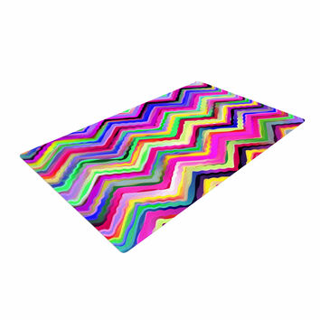 "Dawid Roc ""Colorful Chevron"" Purple Pink Woven Area Rug"