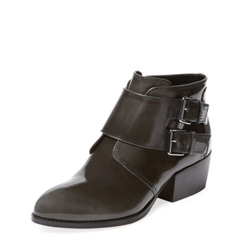 PURE NAVY Women's Nathaniel Double Monkstrap Ankle Bootie - Dark Grey