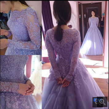 Modest Lavender lace appliques long sleeve ball gown wedding dress vintage scoop neck princess prom gowns cheap sale