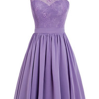 One-shoulder Chiffon Short Purple Homecoming Dress With Applqiues