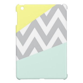 Yellow & Mint Color Block Chevron iPad Mini Cases from Zazzle.com