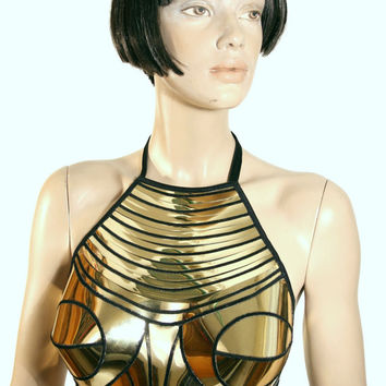 cleopatra armour corset halter top, sci fi costume top,lady ga bra,rave bra, burning the man, cyberpunk, steampunk, futuristic clothing
