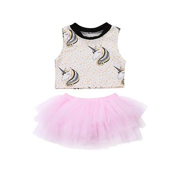 Fashion baby girls Unicorn Set 2Pcs tutu Skirts Set Newborn kids sleeveless tops +Pink tutu Skirts outfits Summer Clothing set