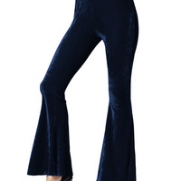 Navy Blue Velvet Stretch Waist Flared Pants