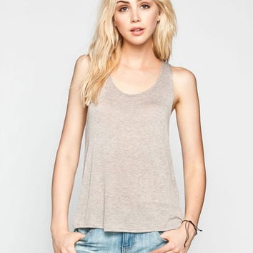 Full Tilt Hachi Knit Deep Scoop Back Womens Tank Taupe  In Sizes