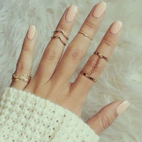Set of 3 Punk Gold Knuckle Ring