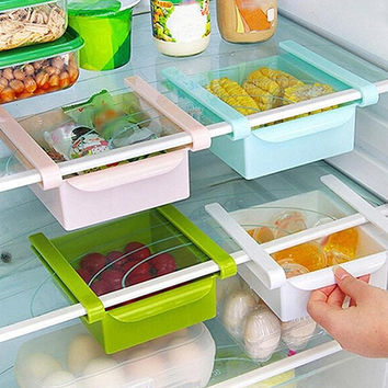 Kitchen Fridge Freezer Space Saver Organizer Storage Rack Holder Slide Drawer