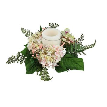 "16"" Decorative Artificial Pink and Green Hydrangea and Berry Hurricane Glass Candle Holder"