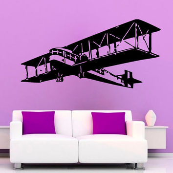 Wall Decals Plane Airplane Military Aircraft Vinyl Decal Sticker Home Art Mural Interior Design Boy Kids Nursery Baby Room Decor D83