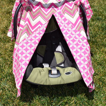 Baby Girl Infant Car Seat Canopy / Infant Car Seat Cover / Snaps Open & Closed / Pink Taupe Chevron with Geometric Pink Print Lining