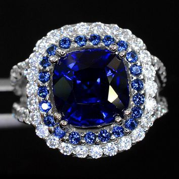A Natural 14K White Gold 5CT Cushion Cut Blue Sapphire Halo Split Shank White Sapphire Ring