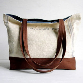 Recycled Grain Sack Tote Bag by belrossa on Etsy