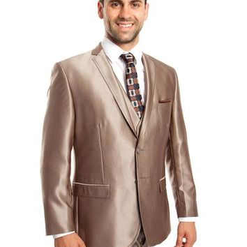 Dark Taupe Shiny Vested Suit