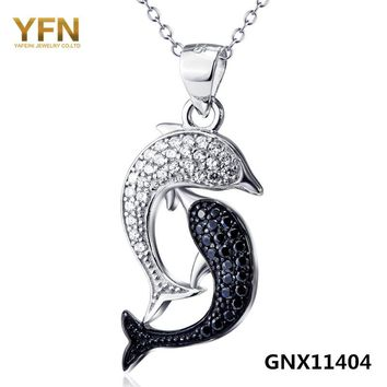 Sterling And Crystal Dolphin Necklace