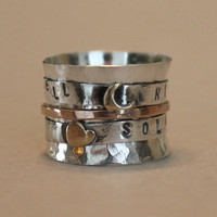 mothers ring - family ring - children's name ring - mixed metal spinner ring - push present - personalized gift - worry ring - for mom