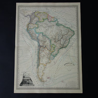 """South America map LARGE 1866 beautiful antique hand colored original old map of South America continent - vintage poster Brazil - 24x32"""" big"""