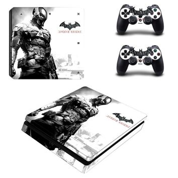 Batman Dark Knight gift Christmas The Batman Vinyl Skin Decal PS4 Slim Sticker for Sony Play Station 4 Slim Console and 2 Controllers AT_71_6