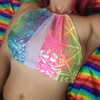 Rainbow Spectrum Halter Crop Top