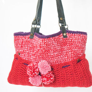 BAG // Red Shoulder bag Celebrity Style With Genuine Leather Handles shoulder bag crochet bag hand made