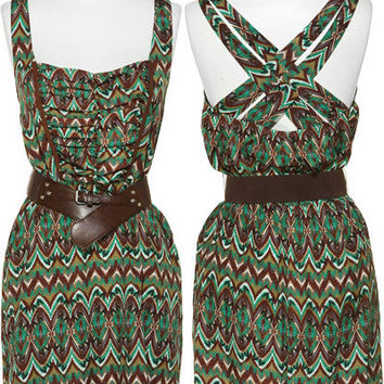 TRIXXI Print & Ruched Crepe Dress W/ Crisscross Back