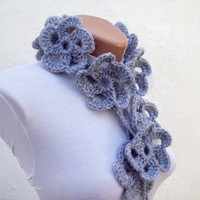 Hand crochet Lariat Scarf Grey Flower Lariat Scarf Long Necklace Holiday Accessories