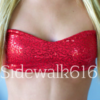 Red Sequin Bandeau Top