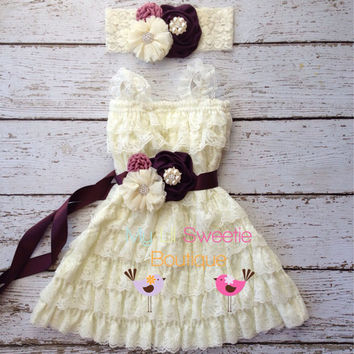 Eggplant ivory dress set , dress, headband, sash, newborn dress, infant outfit, special occasion dress, toddler dressy