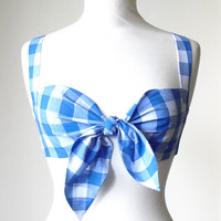 Gingham Tie Front Bra Top, Rockabilly Bra Top, Summer Crop Top, Pin Up Bikini Top, Retro Lingerie, Vintage Style Beach Top, Sizes: XS-L