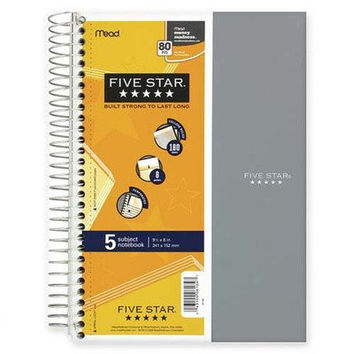 Five Star Spiral Notebook, 5 Subject, College Ruled, 9.5 x 6 Inch, 1 Notebook, Assorted Colors - Color May Vary (06184)