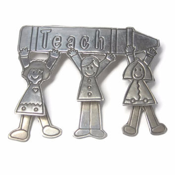Vintage Mexican Sterling Teacher Brooch