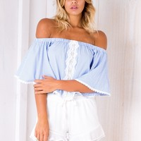 Giselle Crop top - Blue/White - Stelly