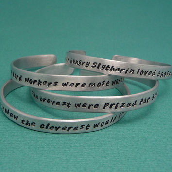 Harry Potter Inspired - Choose ONE - Hogwarts Sorting Hat - Gryffindor, Slytherin, Hufflepuff, Ravenclaw - A Hand Stamped Bracelet