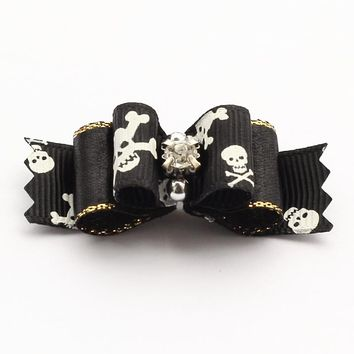 Accessories Pets Skull Ribbon Dog Bow Grooming Bows For Dogs