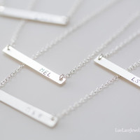 Nameplate Necklace /Personalized Jewelry/Initials Necklace/Sterling Silver Necklace/Chirstmas Gift/Holiday Gift/Bridesmaid Gift/Wedding Gift