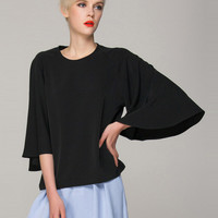 Casual Flared Sleeve Top