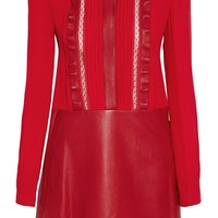 Lace-trimmed pintucked silk and leather mini dress | VALENTINO | Sale up to 70% off | THE OUTNET