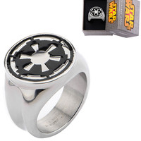 Stainless Steel Star Wars Galactic Empire Symbol Ring by Inox Jewelry