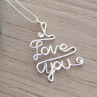 Wire Necklace Charm Pendant I Love You