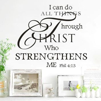 Removable Wall Vinyl Decal Decoration Quote I Can Do All Things Through Christ