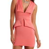 Plunging Lapel Peplum Dress by Charlotte Russe