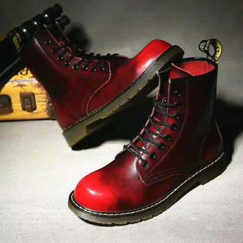 Red On Sale Hot Deal Winter Dr. Martens Casual Flat Shoes Anti-skid Boots G-CSXY