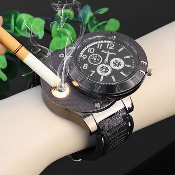 2018 high quality PU Leather USB electronic cigarette lighter Luxury Quartz Wrist Watch Relogio Masculino Men watches outdoor