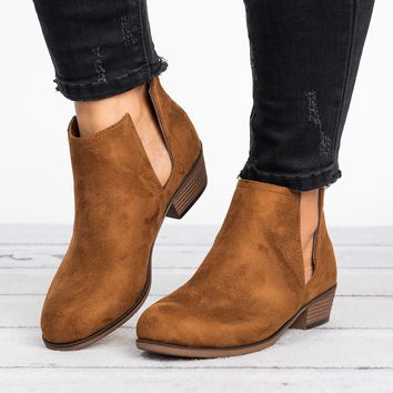 Slit Ankle Flat Booties - Tan